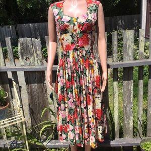 Stunning Vintage Rene' Derhy Floral Dress